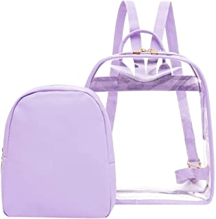 Wultia - Transparent PVC Backpack Women Bookbag Candy Clear Jelly Women Travel Purse Crystal Beach Bag Portable Women Jelly Bags #G8 Purple