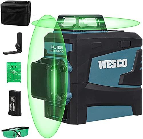 WESCO Livella Laser Verde 20m, 2 X 360° Linea Laser Auto-Livellamento a Croce ± 3° con Base Magnetico, con Li-ion...