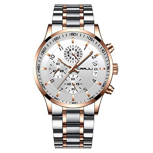 Relógio de pulso masculino CRRJU multifuncional com seis pinos e cronógrafo, pulseira de aço inoxidável à prova d'água, silver rose white