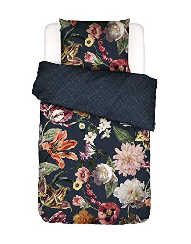 ESSENZA Bettwäsche Filou Blumen Pfingstrosen Tulpen Baumwollsatin Dunkelblau, 135x200 + 1x 80x80 cm