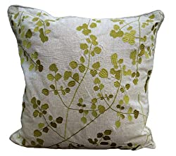 Embroidered Linen Throw Pillow Cover
