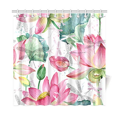 LICTshop Home Decor Camper Shower Curtain Beautiful Blooming Lotus Polyester Fabric Waterproof Best Bathroom Curtain for Bathroom 7272 Inch with Hooks