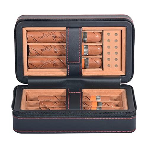 VOLENX Leather Cigar Humidor, Portable Cigar Case Holds 6 Cigars, Handcraft...