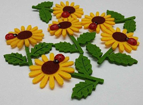 bb10 Schmuck Blumen aus Filz Sonnenblumen aus Filz mit Marienkäfer in 10er Pack Dekoration aus Filz mit Glückskäfer Filzblumen Streudeko Streuteile als Glücksbringer Tischdeko
