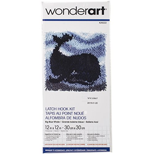 Wonderart Big Blue Whale Latch Hook Kit, 12' X 12'