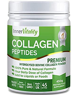 Hydrolysed Collagen Powder – 100% Pure Collagen Peptides – 450g Fast Absorbing Bovine Protein Powder - High in Essential Amino Acids to Support Your Health from The Inside by Inner Vitality
