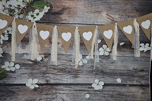 9Ft Rustic Burlap Banner with Lace Printed Heart Garland Pennant Burlap Triangles Banner Triangle Flags DIY Decoration for Wedding Party Birthday Bridal Shower Baby Shower Party Decor Boho Decor