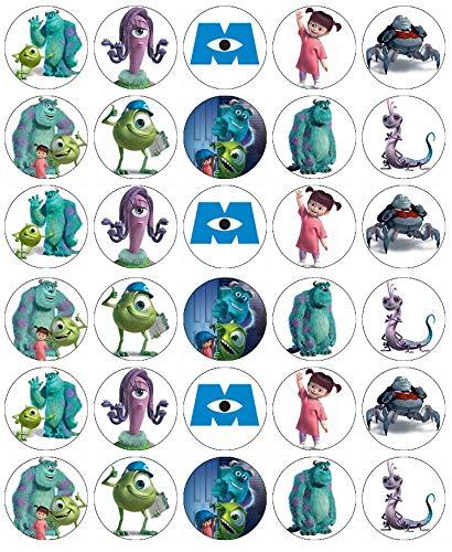 Cupcake-Topper aus essbarem Oblatenpapier, Motiv: Monsters Inc Mike and Sully, 30 Stück