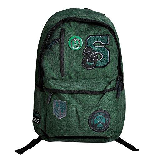 NJ SCREENPRINTS Harry Potter Rucksack mit Slytherin Wappen 46x31x14cm grün