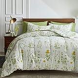 Joyreap 7 Piece Botanical Bed in a Bag Queen, Green Leaves Yellow Flower on Green Tint, Smooth Soft Microfiber Comforter Set (1 Comforter, 2 Pillow Shams, 1 Flat Sheet, 1 Fitted Sheet, 2 Pillowcases)