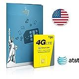 Carte SIM USA prépayée réseau AT&T - 6 Go en 4G - Appels & SMS illimités vers le monde - 30 Jours