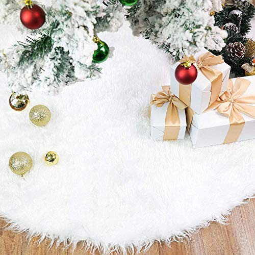Rorchio 78cm Weihnachtsbaumdecke Weiß Plüsch Christmasbaumdecke Rund Tannenbaum-Unterlage Weihnachtsbaumteppich Ornamente Dekoration für Weihnachten