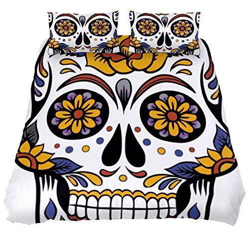 Bennigiry UK King Size Halloween Bettwäsche-Set 3-teilig Bettbezug mit Kissenbezug mit Reißverschluss Eckbändern für Männer Frauen Teenager