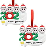 Reiled 2Pcs Survived Family Ornament, Christmas Tree Ornaments, 2020 Christmas Holiday Decorations of 1-7, DIY Family Name Christmas Decorations Xmas Gifts (Family of 4)
