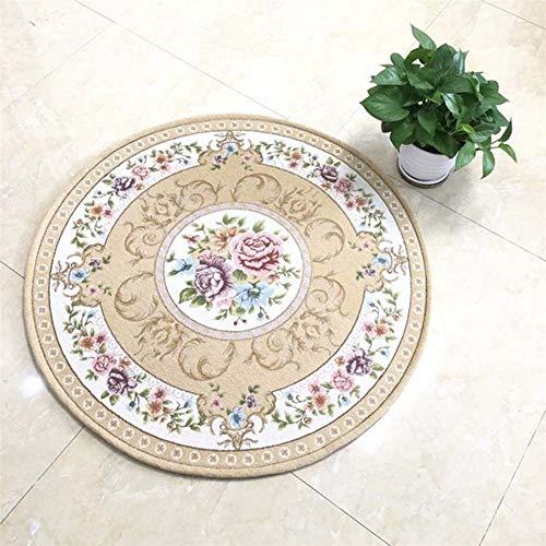 SXcarpet Jacquard Runde Teppich für Acryl Salon Wohnzimmer Bad Matten Stuhl Teppich Home Hotel Schmücken Fußmatte,E,90cm