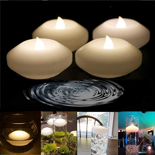 Novelty Candles, 3'' Real Wax Flameless Floating Flicker LED Candle, LED Water Activated Candle, for Home, Party and Festival Decor(Warm White, Pack of 4)