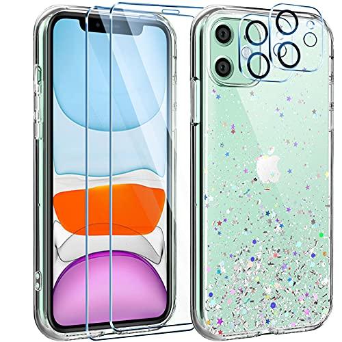 Leathlux Funda Compatible con iPhone 11+2 Pack Protector Pantalla Cristal Templado+2 Pack...