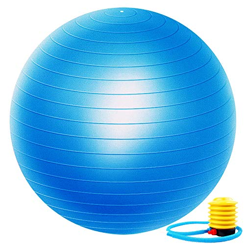 Exercise Ball Extra Thick Yoga Ball Chair, Professional Grade Anti-Burst Balance & Stability Ball Supports 2000lbs with Quick Pump,Blue