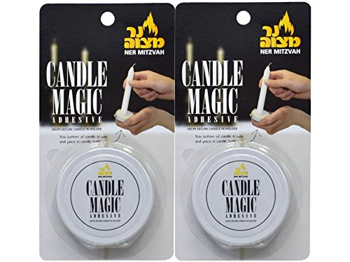 Ner Mitzvah Candle Magic - Candle Wax Adhesive - Candle Glue - Helps Secure Candles in Holder - 2 Pack