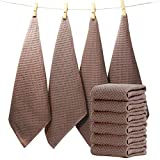 EliteBond - Strofinacci da cucina in cotone goffrato per strofinacci cucina assorbenti per lavare e asciugare le stoviglie, set di 6 vestiti, colore: Marrone