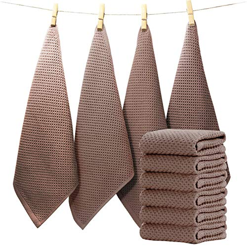 EliteBond - Paños de cocina de algodón para vajilla de cocina, absorbentes para lavar y secar la vajilla, conjunto de 6 prendas de color marrón