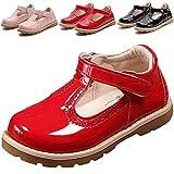 DADAWEN Girl's T-Strap School Uniform Dress Shoe Mary Jane Princess Flat Red US Size 7 M Toddler