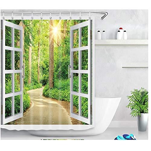 Patrón de Ventana de árbol de Planta Verde Cortina de baño Minimalista Moderna Cortina de Ducha de baño Impermeable y Duradera-El 150x180cm Accesorio de baño Moderno para la Ducha