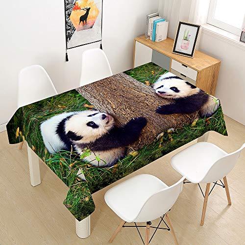 Fansu Manteles de Mesa Rectangular para Decorar, Impermeable Antimanchas Comedor Cuadrada Panda de Impresión Manteles para Cocina/Cena/Picnic Decoración (Panda Doble,140x200cm)