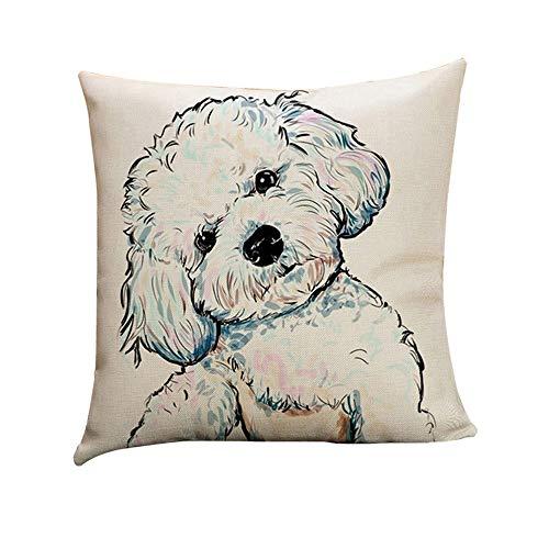 Amesii - Funda de cojín de lino con diseño de perro de dibujos animados, lino falso, 1#, 45 x 45 cm