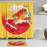 GOCHAN Juego de Cortina de Ducha de2piezas con alfombras Antideslizantes,Espacio Artístico Amarillo Creativo Japonés Hokusai Las Grandes Olas Surfear,Alfombra de baño y Cortina de Ducha