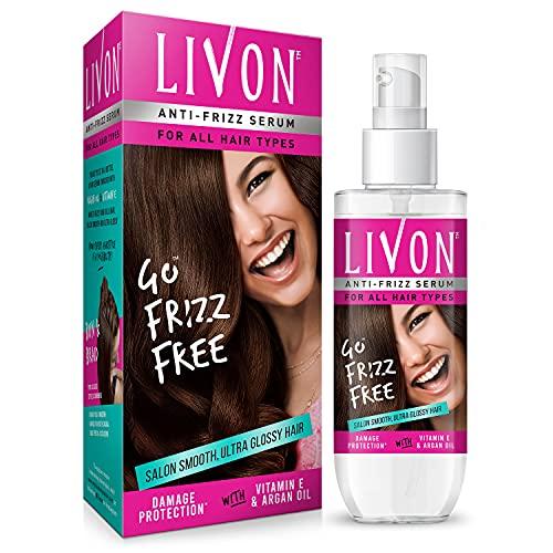 Livon Hair Serum for Women & Men  All Hair Types  Smooth, Frizz free & Glossy Hair   With Moroccan Argan Oil & Vitamin E   100 ml