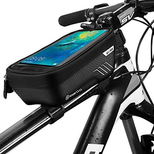 LINGSFIRE Bolsa para cuadro de bicicleta, Cáscara dura Bolsa para cuadro impermeable Bolsa para cuadro de bicicleta con pantalla táctil de TPU, Soporte impermeable para teléfono celular