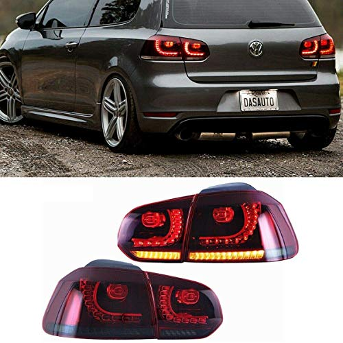 MOSTPLUS LED Tail Lights for 2010-2014 Volkswagen VW Golf 6 MK6 GTI R Rear Lamps Assembly w/Sequential Turn Light (Set of 2) (Smock Tinted)