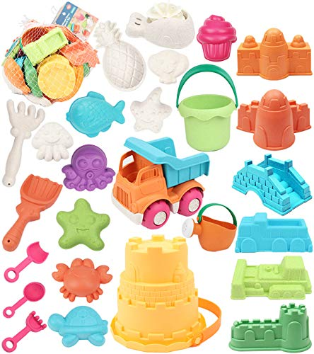 simplenice Beach Toy, 26Pcs Kids Beach Sand Toys Set, Eco-Friendly Sand Toy, Reusable Sandbox Toys for Kids, with Pail Car Animals Castle and Other Tools Kit