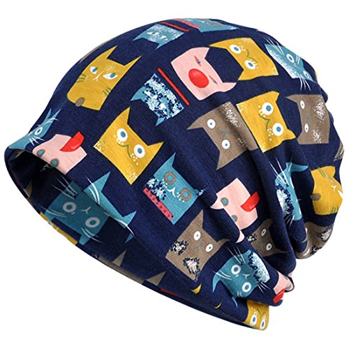 KUYOU Damen Multifunktions-Hut mit niedlichem Katzenmuster, Totenkopf-Mütze - Blau -...