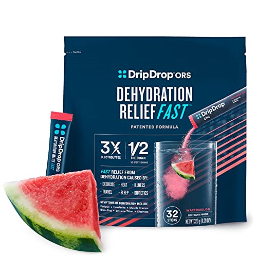 DripDrop ORS - Patented Electrolyte Powder For Dehydration Relief Fast - For Workout, Sweating, Heat, & Travel Recovery - Watermelon - 32 x 8oz Servings