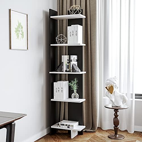 BTGGG 5 Tier Storage Shelves Bookcase Modern Corner Shelving Unit Display Rack Free Standing Bookshelf Cupboard Cabinet for Living Room Bedroom Home Office, Black & White
