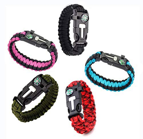 RNS STAR Emergency Paracord Bracelets | Set of 5 | Survival Bracelet with Paracord Rope, Tactical Bracelet Fire Starter, Compass, Emergency Whistle & Small Knife for Hiking