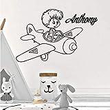 BFMBCH Nom personnalisé pilote stickers muraux chambre d'enfant en vinyle décoratif...