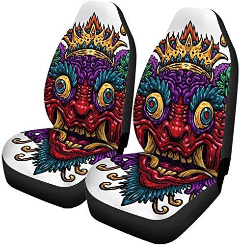 Set van 2 autostoelhoezen Cultuur Indonesisch Bali Masker Mythologische Balinese De Aziatische Indonesië Universele Auto Voorstoelen Beschermer