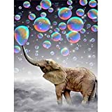 Lazodaer Kit de pintura de diamante 5D por número, taladro redondo completo con diamantes de imitación de cristal, decoración de arte y elefante, 30 x 39,9 cm