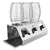 SodaClean® Premium Lot de égouttoirs en acier inoxydable avec bac d'égouttoir - pour 3 bouteilles SodaStream - Passe au lave-vaisselle - Égouttoir avec support de couvercle - Crystal Easy Power