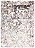 Mars AP47B - Alfombra moderna degradada y brillante para salón, dormitorio, salón, efecto carving, gris, marrón, pardo, 160 x 220 cm