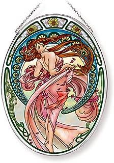 Amia Art Nouveau Dance Handcrafted Glass, Large Oval Suncatcher, Multicolored