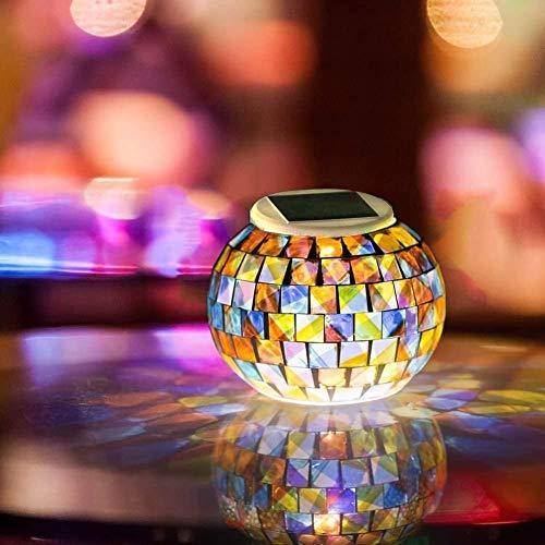 Solarleuchten Mosaik Solar licht Farbwechsel Star Solarlampe Night Light, Wasserdicht Kristallglas Globe Ball Stimmungslicht Deco Tischlampe für Party, Christmas, Garten, Terrasse, Kinder, Erwachsene