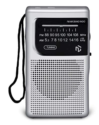 NT North Tech - Best AM FM Battery Operated Pocket Radio | Top Antenna Reception | Portable Compact Transistor Radio | Long Lasting Battery Operated (2 AA) | Long Range | Headphone Jack Socket