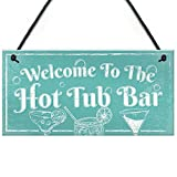 Meijiafei Welcome to The Hot Tub Bar Novelty Garden Shed Pool Hanging Plaque Outdoor Sign 10' X 5'