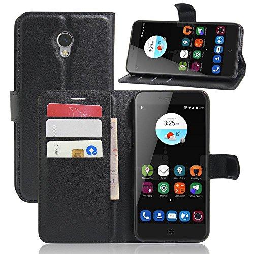 ECENCE Handy-Schutzhülle - Handytasche für ZTE Blade V7 Schwarz - Smarthone Case Cover stoßfest mit Kartenfach - Handycase mit Stand-Funktion 24010110