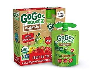 GoGo squeeZ Organic Applesauce on the Go, Apple Strawberry, 3.2 Ounce (4 Pouches), Gluten Free, Vega