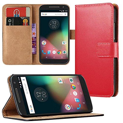 Eximmobile - Book Hülle Handyhülle für Motorola Moto G 2. Generation mit Kartenfächer | Schutzhülle aus Kunstleder | Handytasche als Flip Hülle | Cover in Rot Handy Tasche Etui Hülle Kunstledertasche